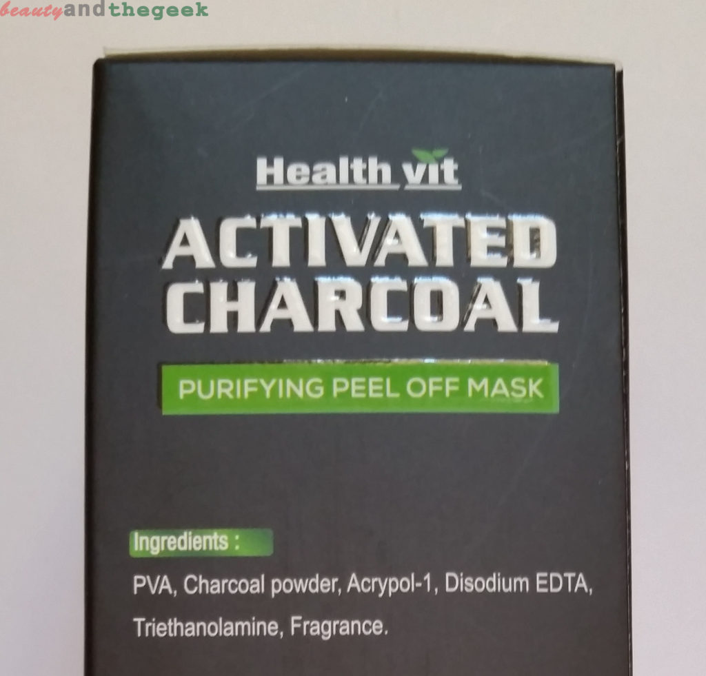 Healthvit Activated Charcoal, Purifying Peel-off Mask ingredients