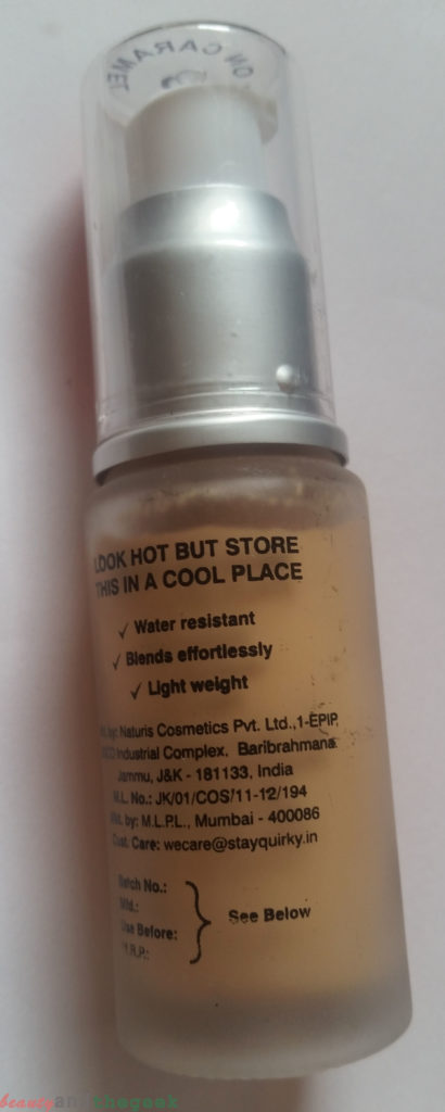Stay Quirky Liquid Foundation 03 carry on Caramel claims