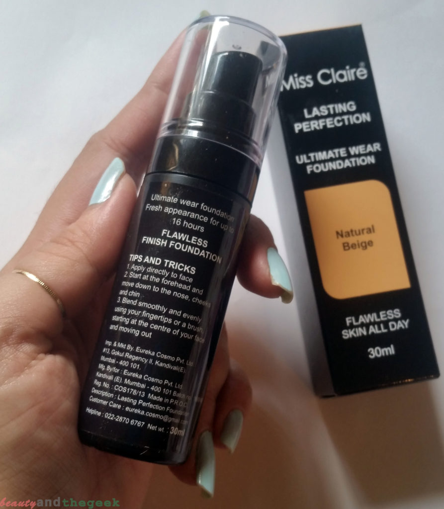 Miss Claire Lasting Perfection Ultimate Wear Foundation packaging
