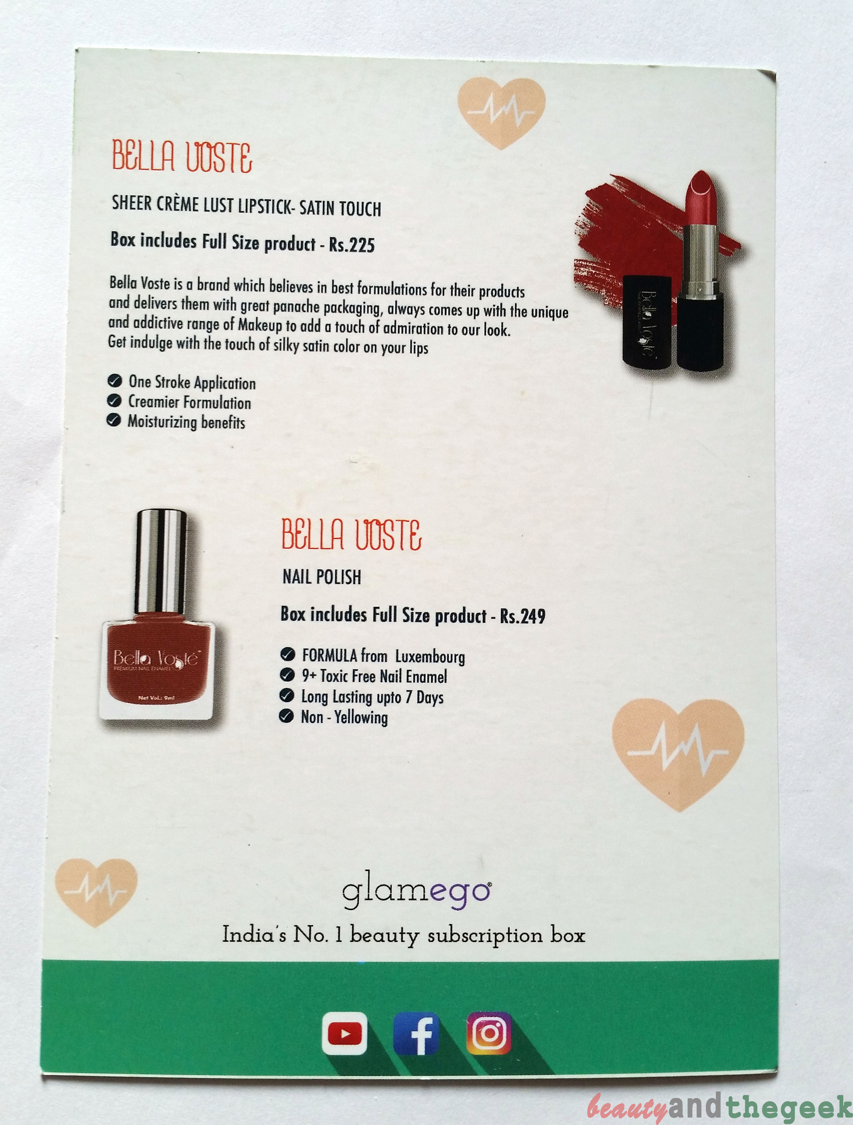 Glam Ego Monthly subscription Box info card
