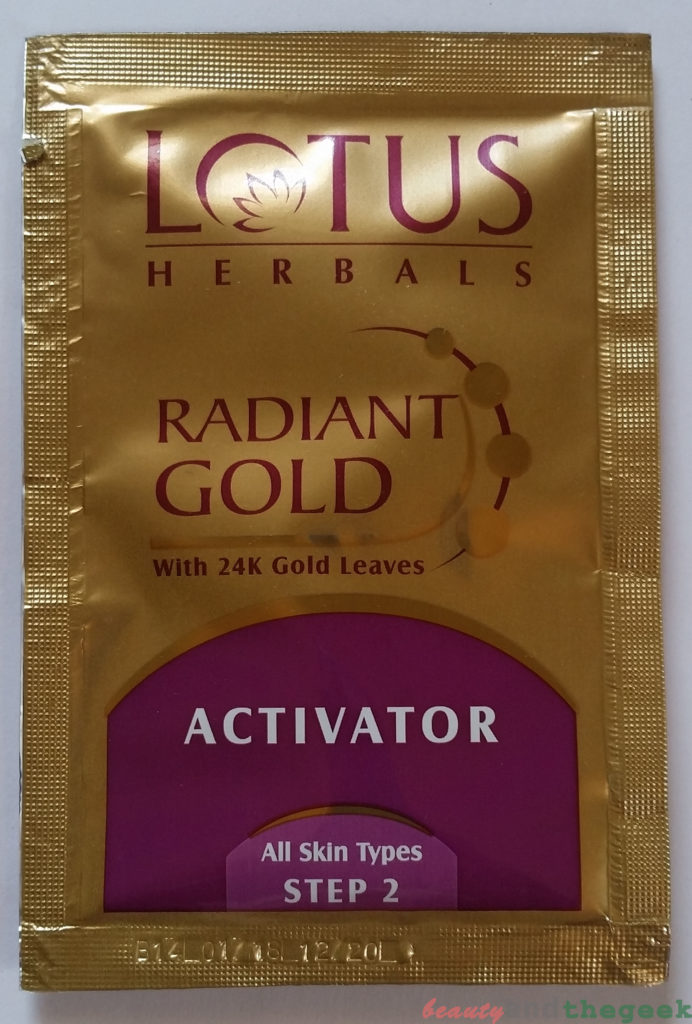 Lotus Herbals Radiant Gold Cellular Glow Facial Kit activator