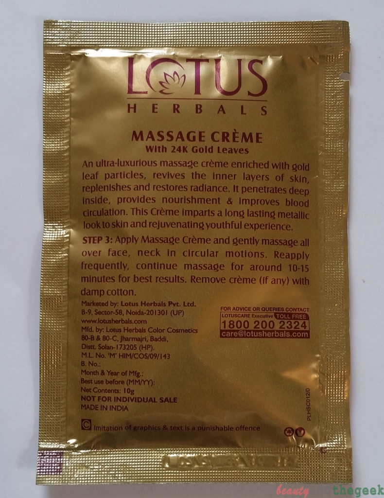 Lotus Herbals Radiant Gold Cellular Glow Facial Kit step 3