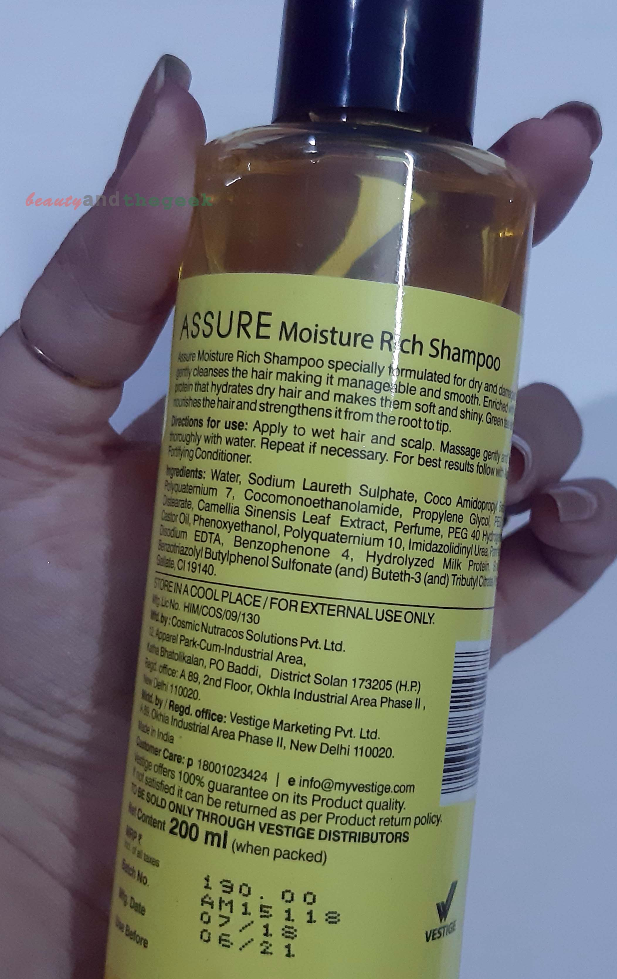 Ingredients of Vestige Assure Moisture Rich shampoo with green tea extracts