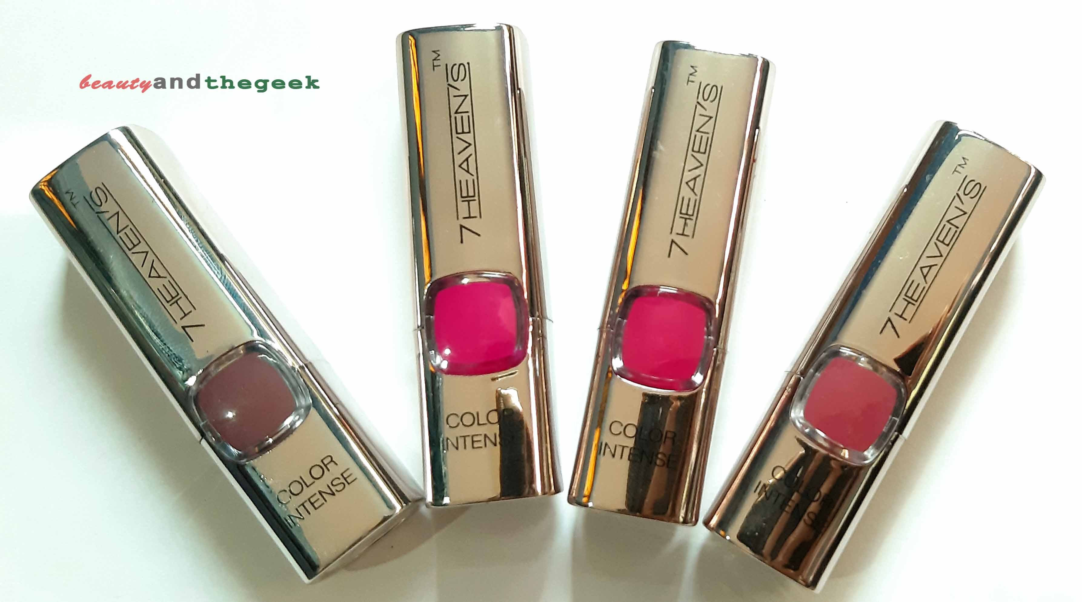 packaging of 7 heaven's color intenses lipstick rose, kisses, pinky, burgandy