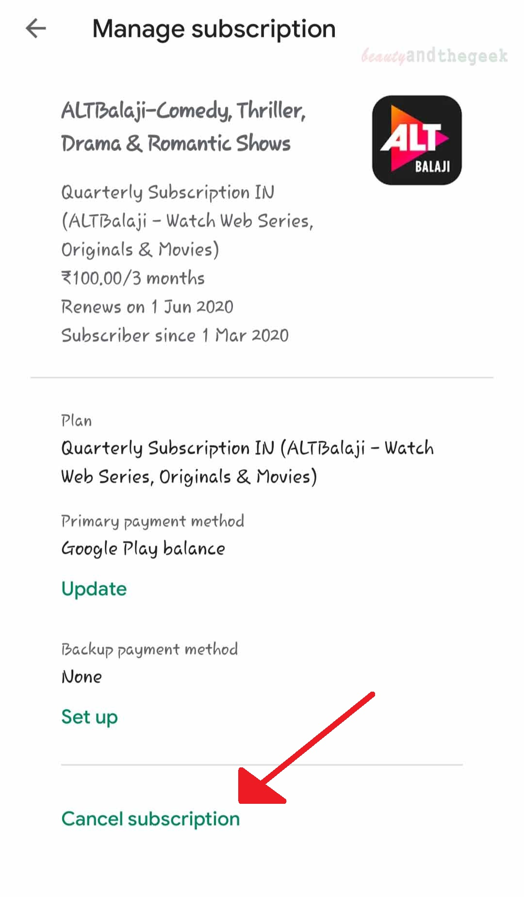Click on cancel subscription option