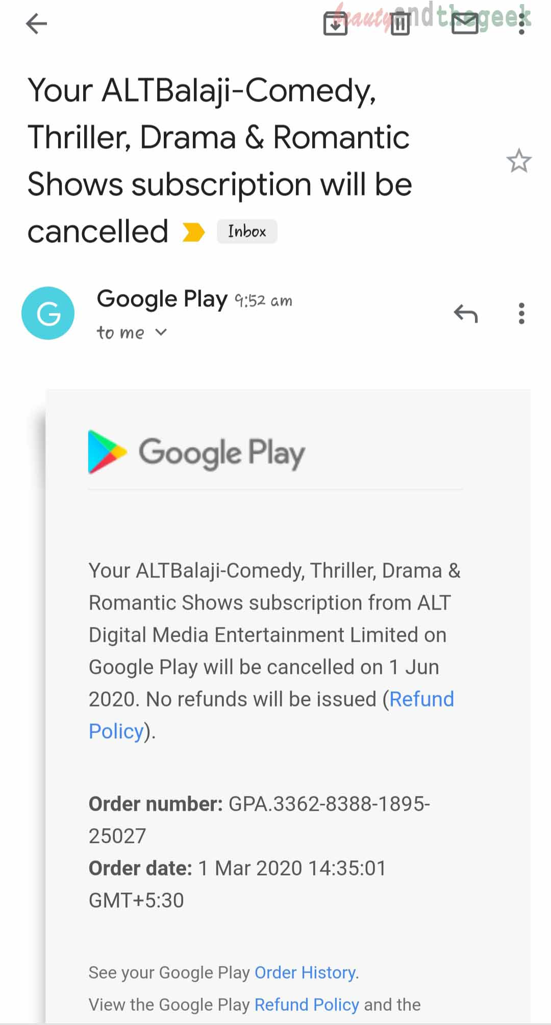 confirmation email from google play